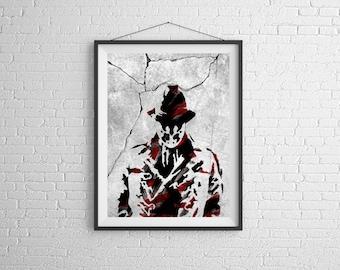 Rorschach,Watchmen,The Watchmen,comics,DC Comics,,nerd, 11x14, Print, Artwork, Painting,Decor,Surreal,Art,geek