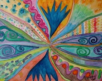 Abstract Original watercolor painting- (Road of Illusion) fantasy, inspiration, imagination, kids room Decor.
