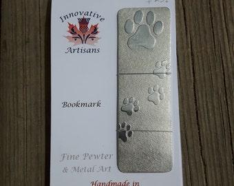 "Handmade pewter pawprint bookmark ""Best Friend"""
