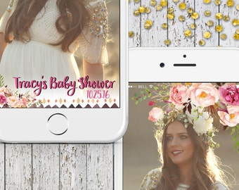 Baby Shower Geofilter, Cute Baby Shower Filters, Boho Snapchat It's a Girl Baby Shower, Floral Baby  Geofilter, Girl Baby Shower Its a Girl