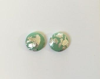 10mm Mint/Silver Leaf Dome Studs
