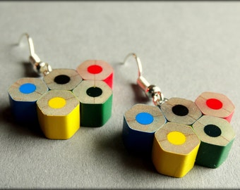Olympic earrings; Pencil earrings; Earrings; Gift For Her; Colour Pencils; Handmade; Jewerly; Olympic games; Olympic rings