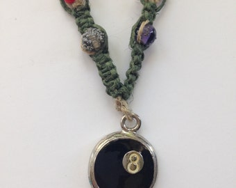Magic Eight Ball Skull, Tie Dye, Vintage Czech Glass, Green Hemp Necklace