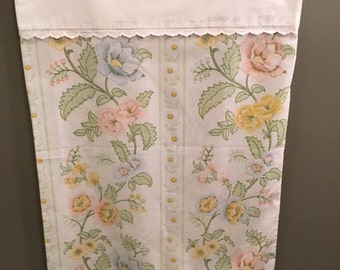 Vintage Pillowcase--Pretty Floral and Lace Edging
