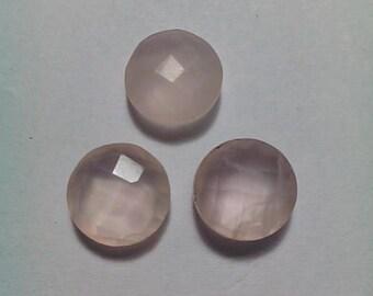 3 Pieces Rose Quartz Facetade Briolette 10 MM