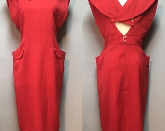 SALE Red Linen Architectural Dress