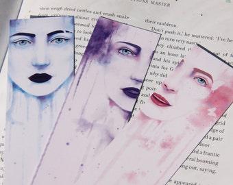 Three Female Water Paint Bookmarks
