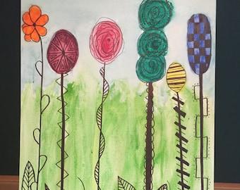 Floral watercolor original