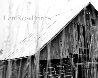 Black and White Barn Photo Print, Black and White Photography, Barn Photo, Black and White, Wall Art, Midwest Photography
