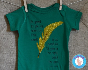 Janis Joplin Quote Tee - Classic Rock Baby Onesie - Gold Glitter - Feather - Sparkle - Sparkley - Bohemian - Boho - Kids  Shirt - Infant Tee