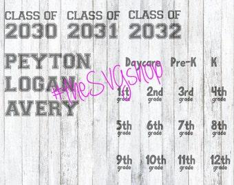 SVG file, Class Shirt, Kindergarten to High School