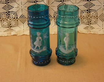 Mary Gregory Blue Glass, Pair of vases