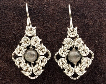 Byzantine Eye Chainmail Earrings - Sterling Silver with Labradorite