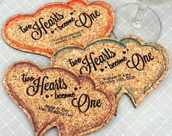 Wedding Favor Coasters, Personalized Double Heart Shaped Cork Coaster - Set of 12
