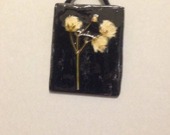 Pressed Baby's Breath on Black Tile 2
