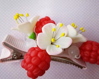 Polymer clay hair clip raspberry and flowers