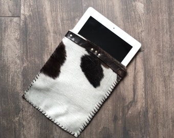 Brown & White Cowhide iPad Sleeve