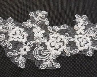 Ivory bridal wedding lace Applique / floral lace motif 9cmx26.5cm is for sale.  sold by per piece