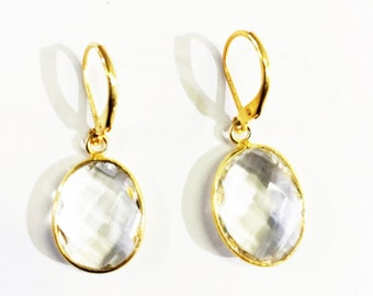 White Quartz in Gold Filled Earrings