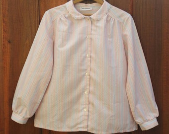 Pastel Stripe Secretary Blouse with Peter Pan Collar and Lace