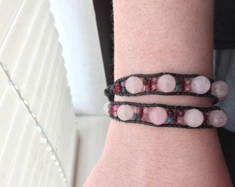 Rose Quartz and Czech Glass beaded bracelet