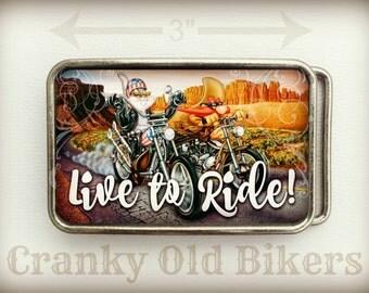 Biker Belt Buckle, Live to Ride, Bugs Bunny, Harley Davidson, Motorcycle Gear