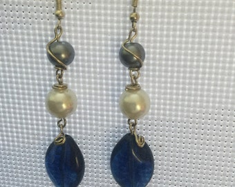 Blue and white wire wrapped earrings