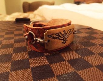 "Womens Leather Cuff Bracelet ""thunderbird"""