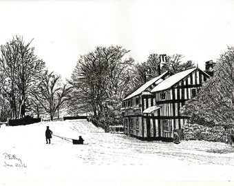 Pen & Ink Drawing, A4 - Bridge Lane, Bramhall, 1920