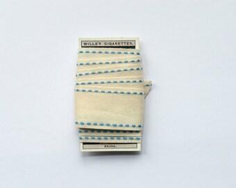 Cream & Blue Cotton Ribbon - 1 metre