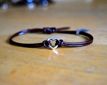 Heart Charm Bracelet, Leather, Charm Bracelet, Antique Silver Charm, Adjustable, Heart Charm, Friendship Bracelet