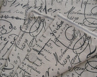 free shipping cotton and linen craft fabric Cursive script  style for 59 inch wide sold by 1/2yard