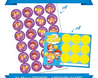 96 30mm Reward Stickers & 4 Reward Charts, Children, Teacher, Cheerleader Theme.
