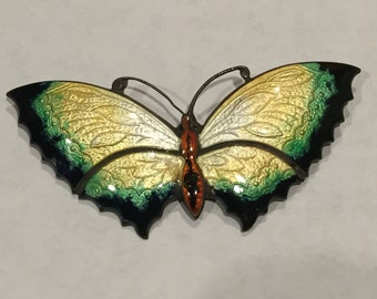 sterling and enamel vintage butterfly