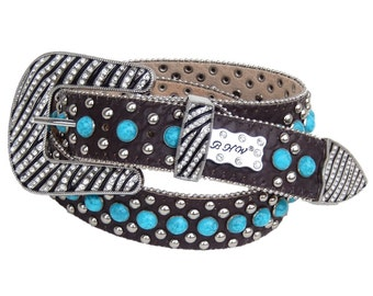 Western Leather Show Belt Brown With Turquoise Crystals