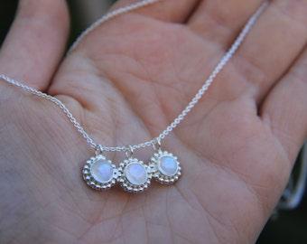 SEA necklace; Moonstone Necklace, Delicate necklace, Precious stone necklace, Bohemian necklace, Gypsy necklace