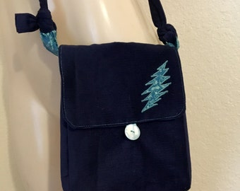 Grateful Dead Purse-Navy Blue Corduroy with 13 Point Lightning Bolt Patch and Button Closure, Adjustable strap