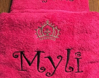 Monogrammed Little Girls Name with Princess Crown Towel