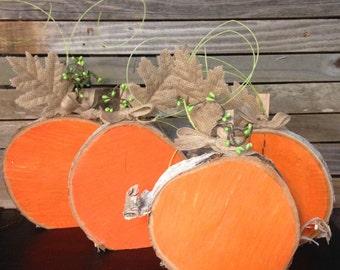 Natural Wood painted pumpkin