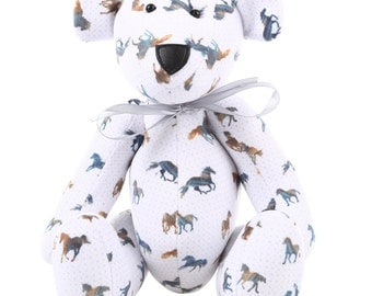 Posable Cute Teddy Bear with Majestic Horses Pattern.