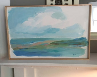Abstract Coastal - Acrylic Painting on Masonite with wooden frame