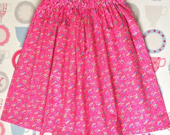 Pink Rose Floral Girls Twirly Skirt