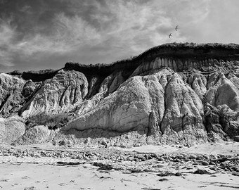 Cliffs Of Aquinnah In Black and White 2