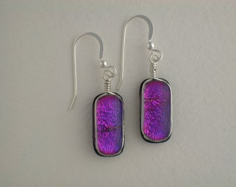 Purple Dichroic Glass Earrings with Silver wire wrap