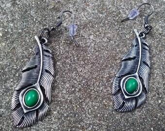 Silver Feather Dangle Earrings