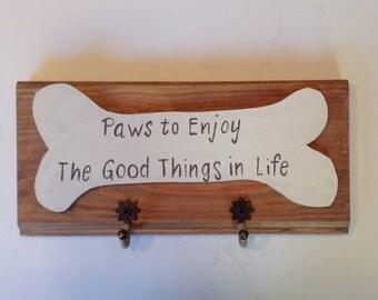 Wood Dog Leash Hanger-Paws to Enjoy-Dog Leash Holder-Dog Leash Hook-Dog Art-Key Holder-Dog Owner Gift-Handmade Dog Leash