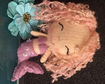 Handmade Merino Wool Felt Mermaid Doll with Sequins and Metallic Thread