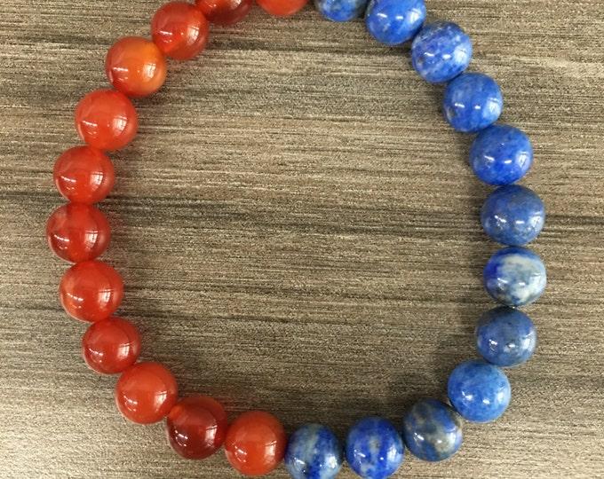 8mm Carnelian & Lapis Lazuli Healing Bracelet Natural Stone Jewelry Positive Energy