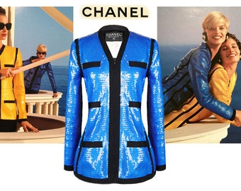 Chanel Royal Blue Sequined Jacket