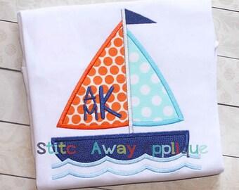 Sailboat Applique Shirt - Summer Shirt - Can be customized